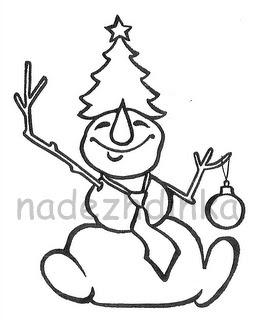 штамп для скрапбукинга: снеговик с ёлкой