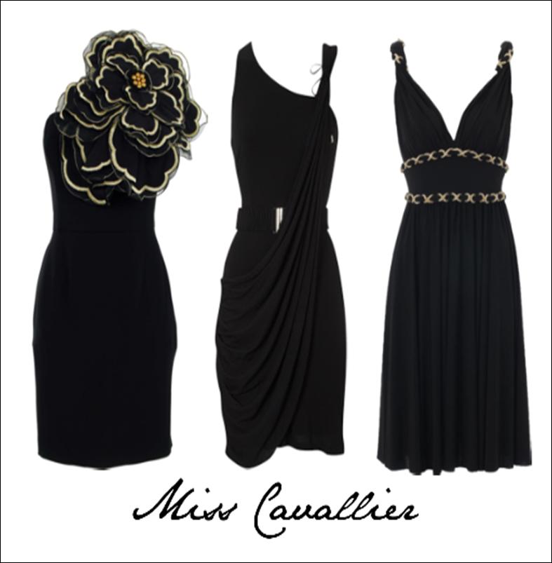Vestido negro complementos plata