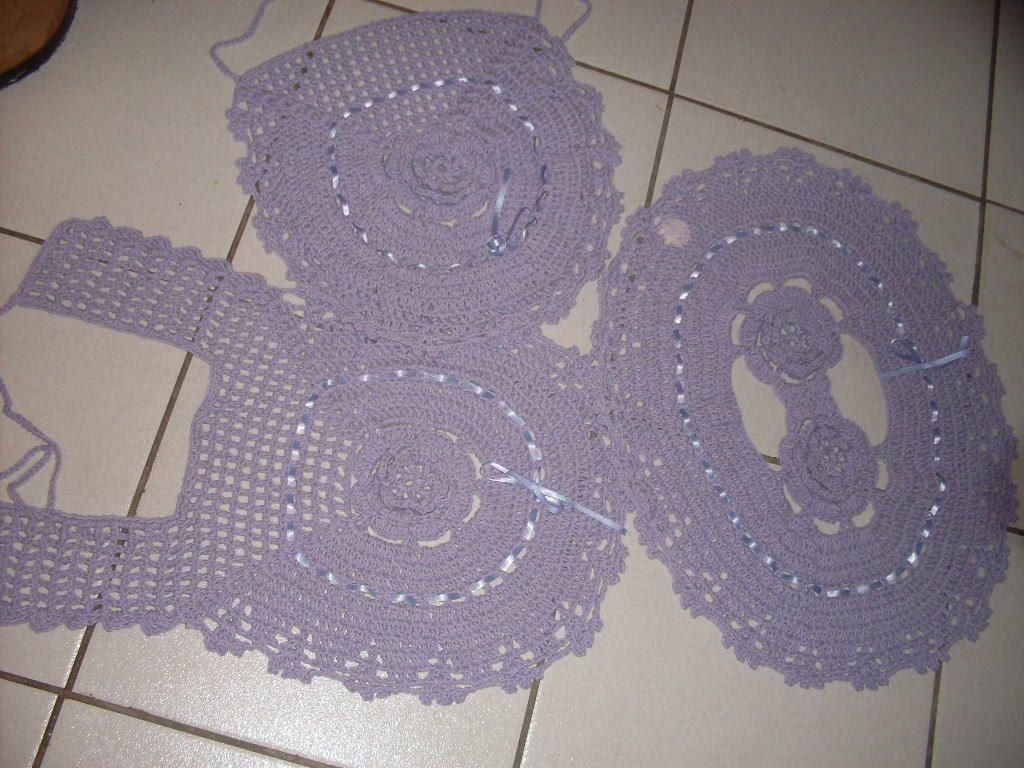 Jogo de banheiro de crochê - mod flor - lilás