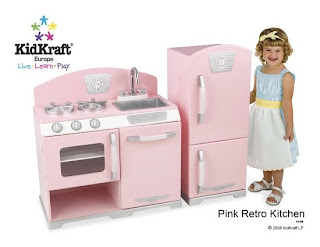 Girls pink play kitchens