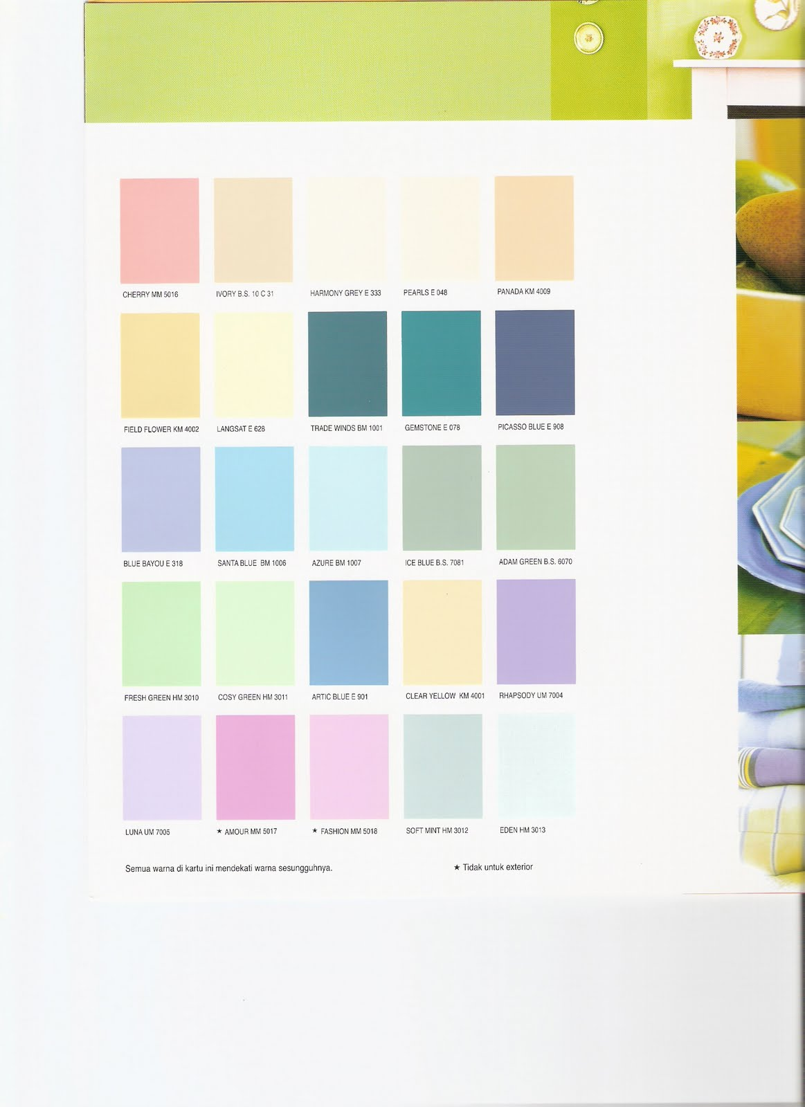 Katalog warna cat tembok avitex joy studio design for Katalog designer