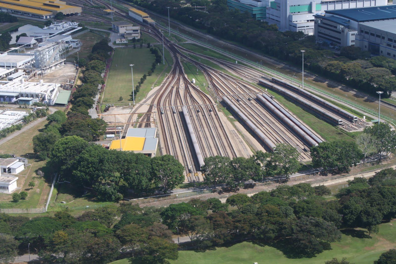 View of the Singapore Mass Rapid Transit (SMRT) depot in Tanah Merah ...