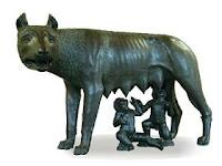 Rómulo y Remo y la loba que los amamantó