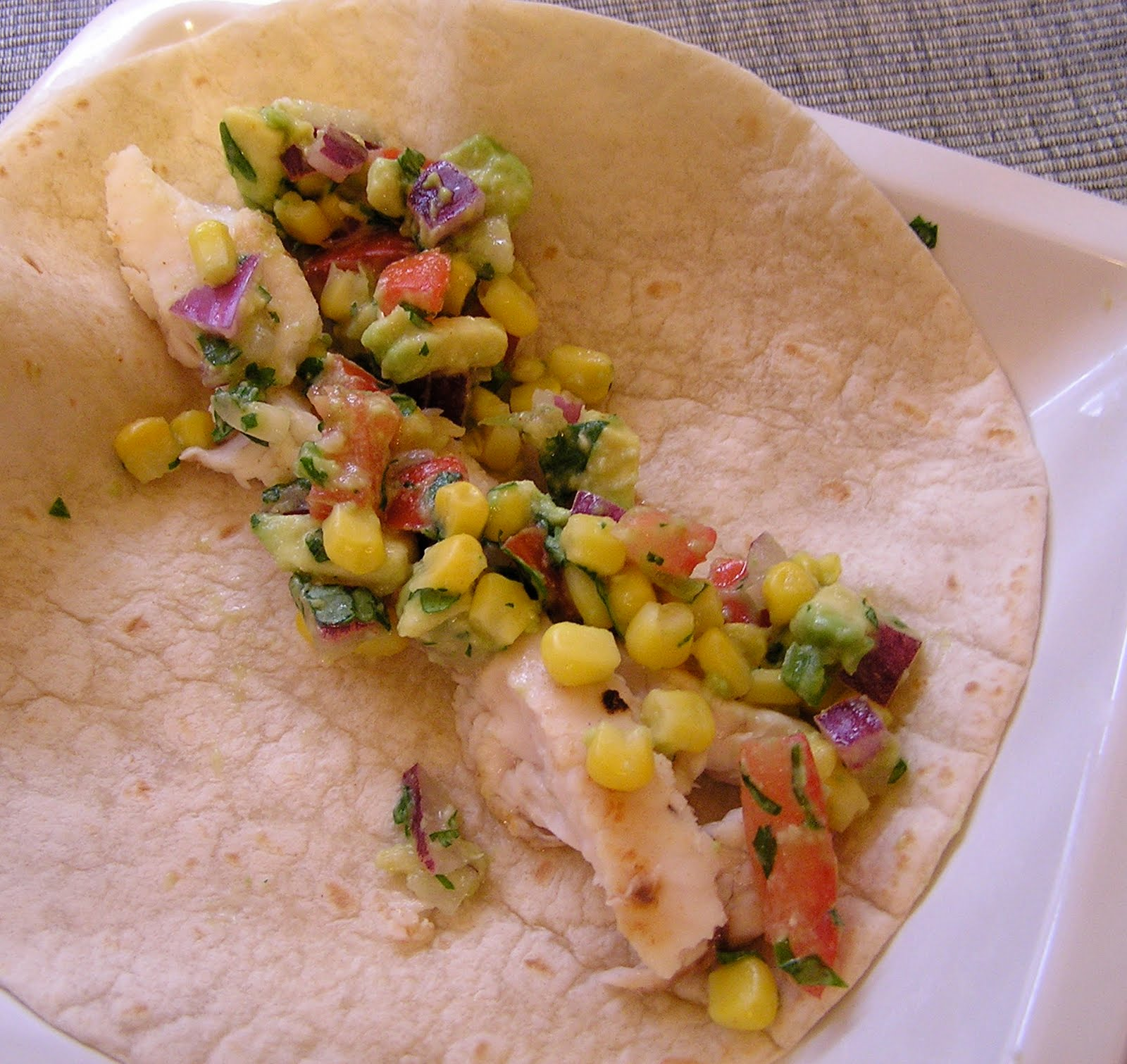 Fish tacos with avocado and corn salsa greens chocolate for Pioneer woman fish tacos
