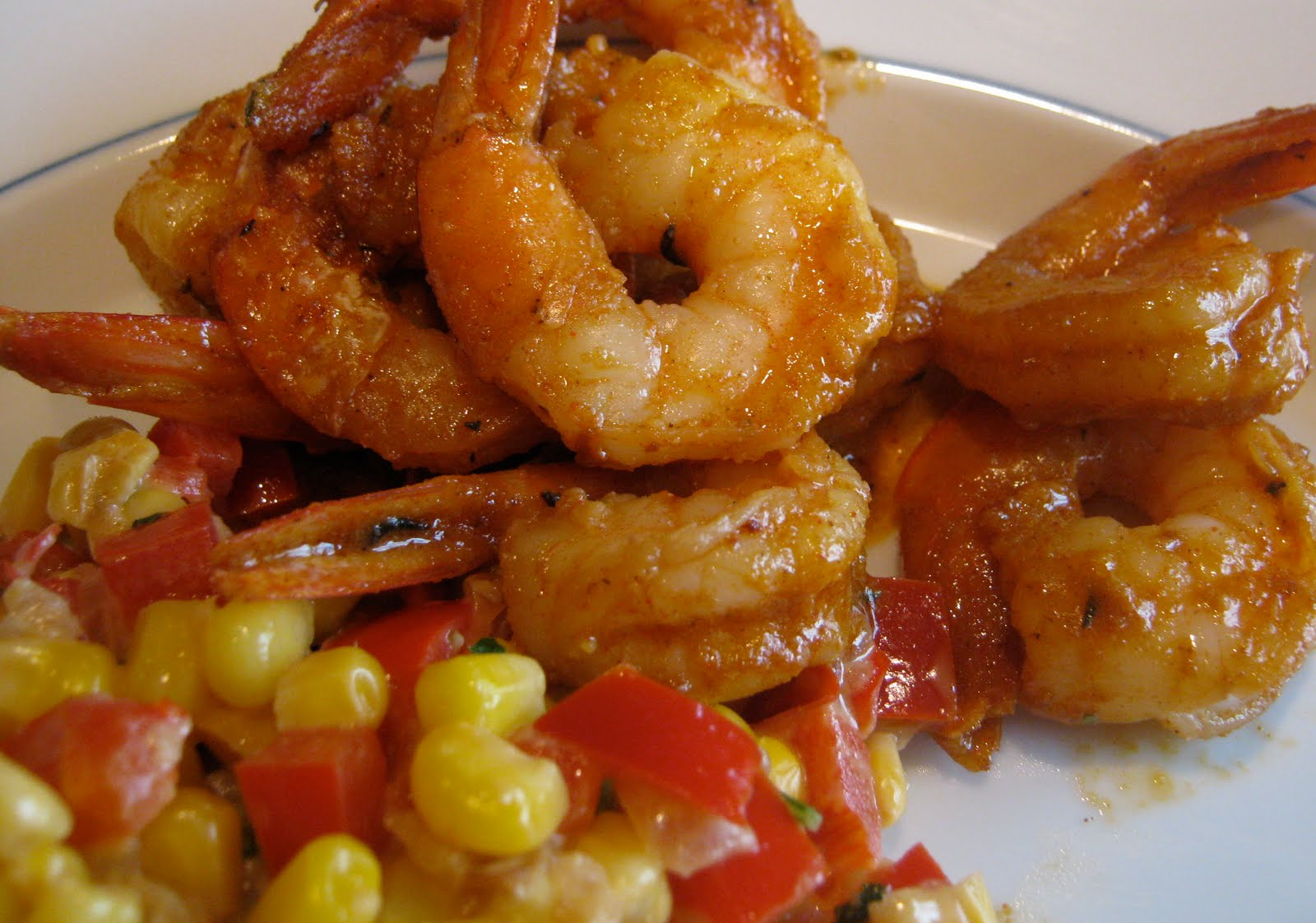 corn maque choux with cajun shrimp | greens & chocolate