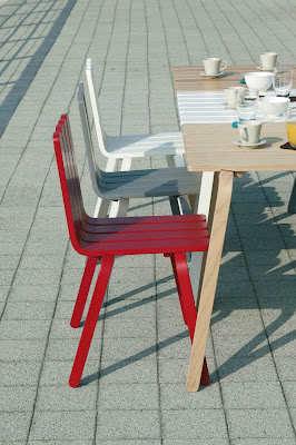 Stackable Wooden Chair and Table by Alain Berteau for Fled