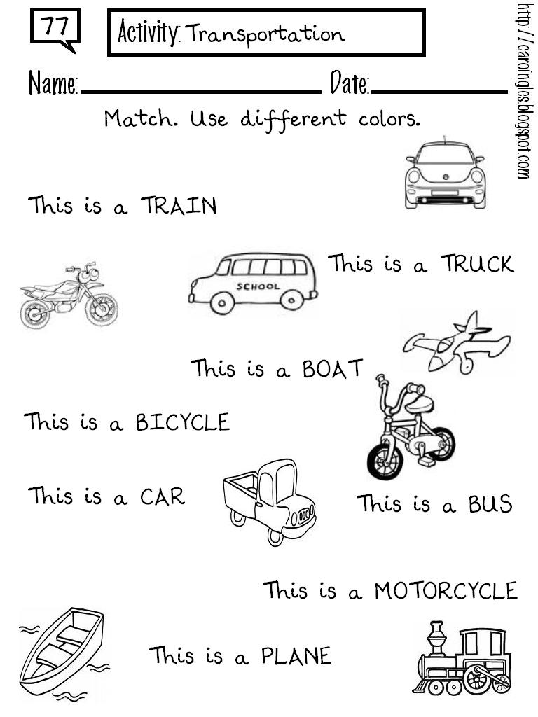 Ficha para reforzar el vocabulario relacionado con el transporte en ...