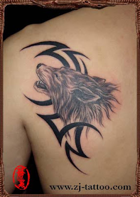 wolf totem tattoo on the back