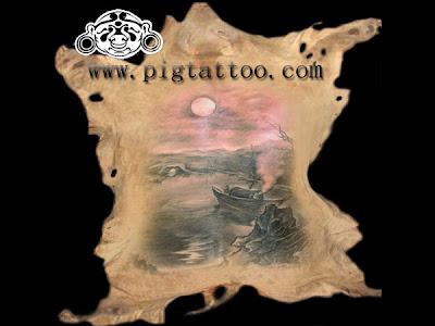 tattoo pig. Tattoo design on the pig skin