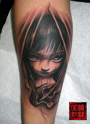 A comic style, little girl portrait tattoo design on the leg.