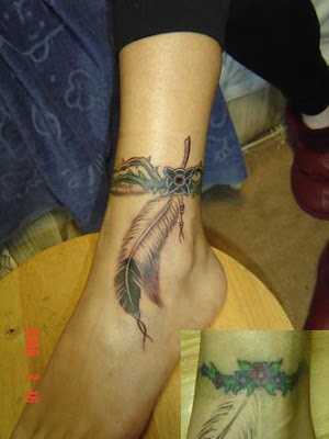 A feather tattoo on the ankle along with a thorn ring.