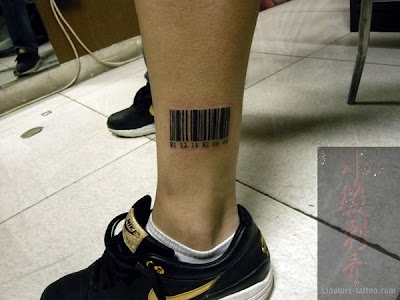 Barcode tattoo near the ankle