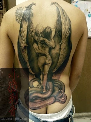 demon tattoo design, demon with wings, back tattoo design, snake