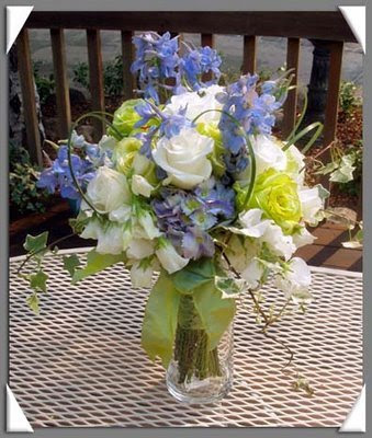 Wedding Bouquet of Blue Larkspur White Roses White Sweet Peas and Lime