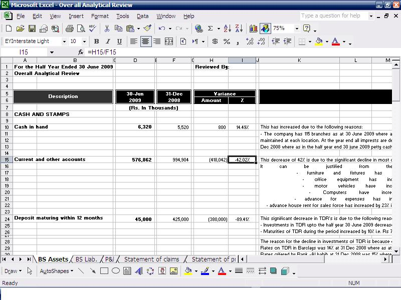 Example Internal Audit Working Paper