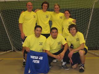 Truckee Futsal Champs Jason Matthews, Andreas Zeischegg, Genevieve Speas, Natalie Pratt, Tommy Hernandez, Octavio Cardenas and Michael Kugler, Truckee Adult futsal champs 2011