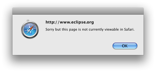 Popup dialog with message: Sorry but this page is not currently viewable in Safari