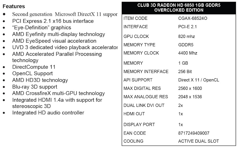 Club 3D Radeon HD6850 1GB Graphics Card - Specifications and Technical Features