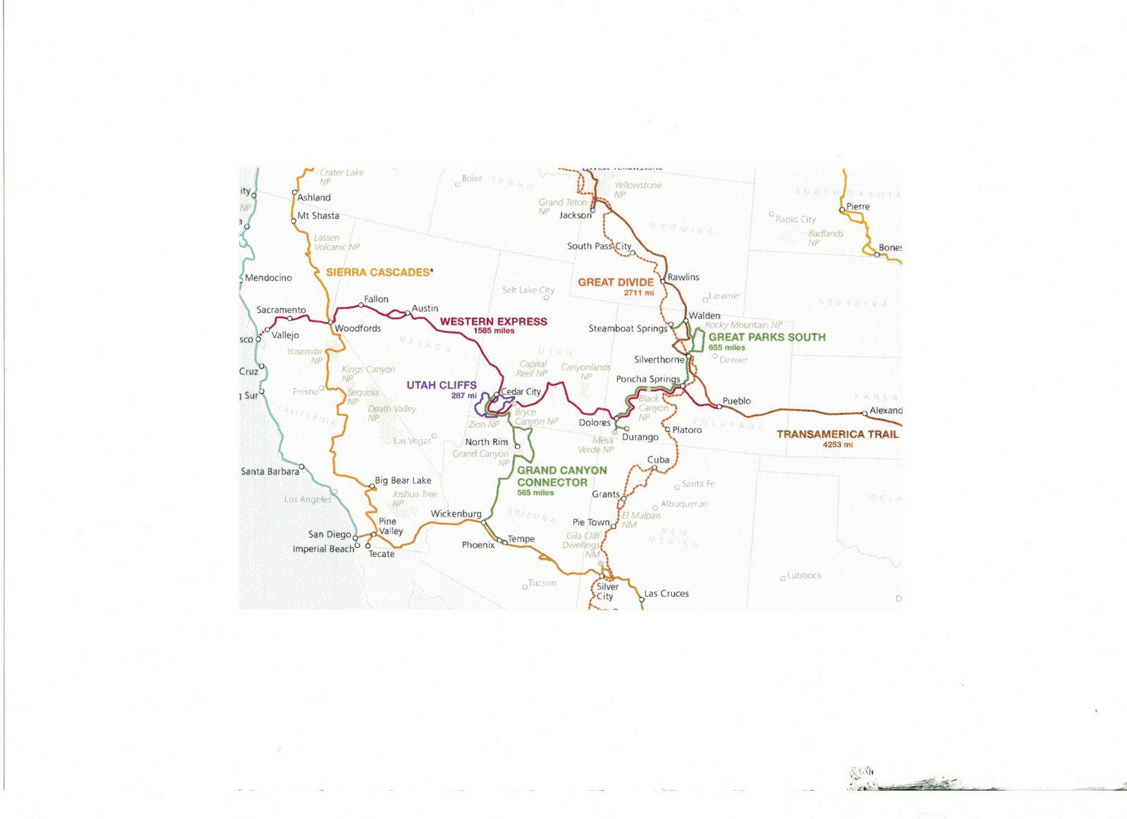 the route used was the american cycling associations grand canyon connector which links in cedar city with several legendary bicycle routes which cross