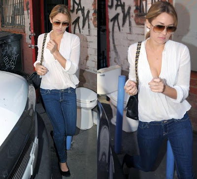 blue LC Lauren Conrad jeans - brown Steve Madden shoes. Lauren Conrad.