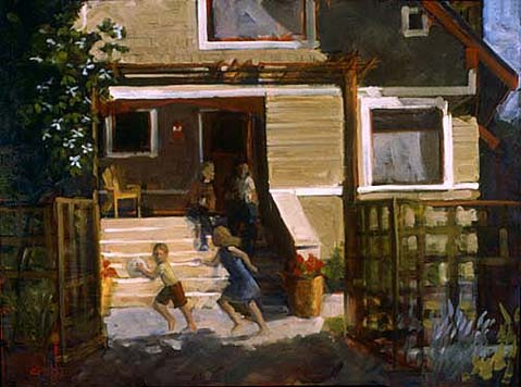 KIDS PLAYING IN YARD 30x40 OIL