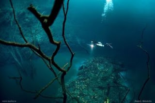 Sungai di Dasar Laut Cenote Angelita, Mexico