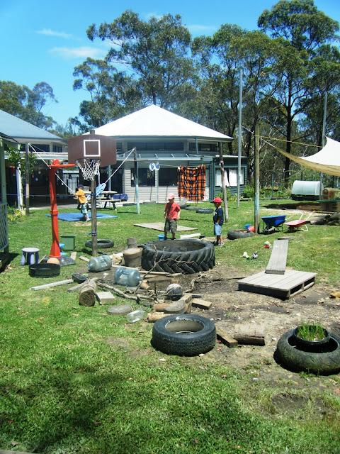Let the children play a preschool playground of loose parts for Kindergarten playground design