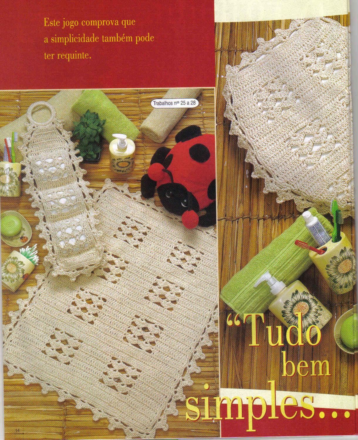 : Conjunto Banheiro em Crochê Modelo Simples e Bonito Gráficos #A23029 1220x1497 Banheiro Bonito