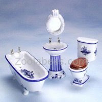 minature dollhouse bathroom set image
