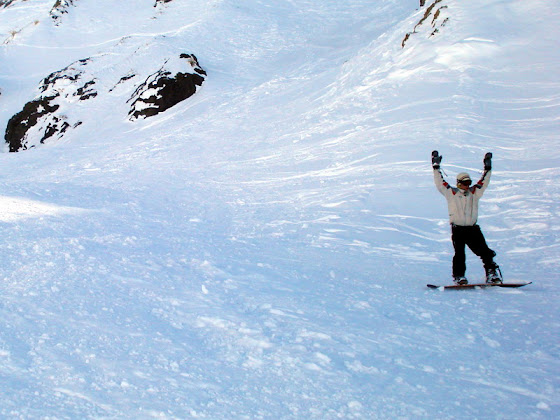 Aquí haciendo el snowboard en las Leñas