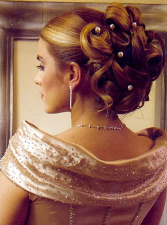 Teen prom hairstyle, the main idea is a formal hairstyle or a retro one that