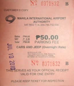 manila airport naia terminal 2 overnight parking fee