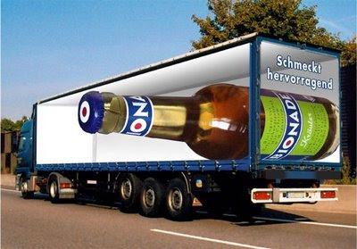 bottle in a truck