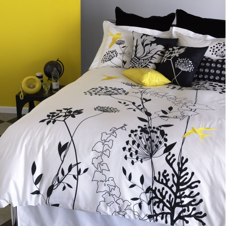 Yellow Black and White Comforter Set