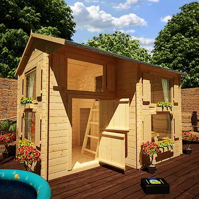 Shedworking children need sheds too mad dash annex log for Kids cabin playhouse