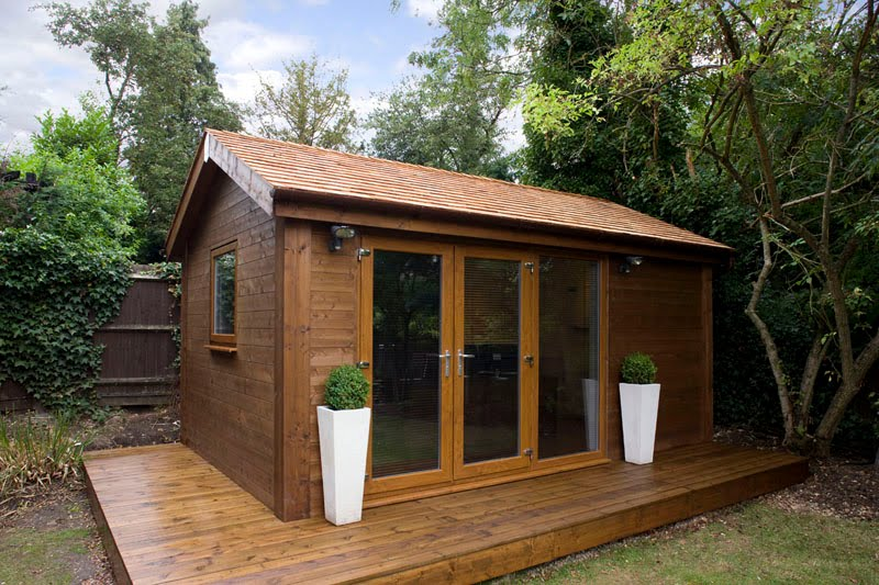 small contemporary garden office with green roof smallest garden