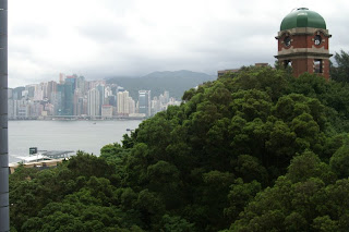 Picture of Signal Hill Park in Hong Kong (very green...very rare) and the harbour from our living room window