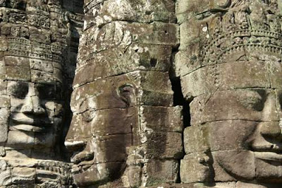 Image of Lokesvara faces on towers in the Bayon temple complex in Angkor Thom.