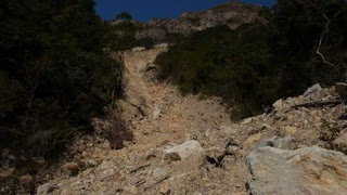 Image of landslide blocking a trail on Lantau Island, Hong Kong.