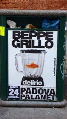 Graffiti poster image for Beppe Grillo, an Italian blogger, found near the Rialto Bridge in Venice, Italy.