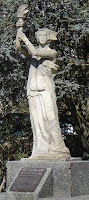 Small image of a copy of the Goddess of Democracy statue, which was originally constructed by the Tiananmen Square students. This copy stands at the University of British Columbia in Vancouver, Canada. This image was taken outside of Student Union Building of the University of British Columbia by Dr. Kwan and uploaded to the Wikimedia Commons on 2007-04-27 when it was placed by Dr. Kwan into the public domain.