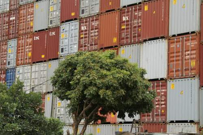 Second image of stacked, empty containers in Tuen Mun, Hong Kong.