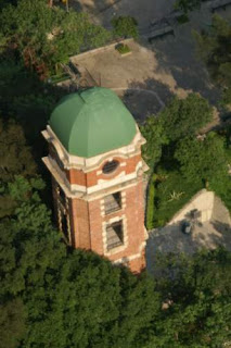Image of Signal Tower, on top of Beacon Hill, seen from higher up in our building, here in Hong Kong.