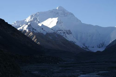 Image of Everest in the morning from the Base Camp valley.