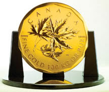 100 kg Canada Coin Maple Leaf Gold