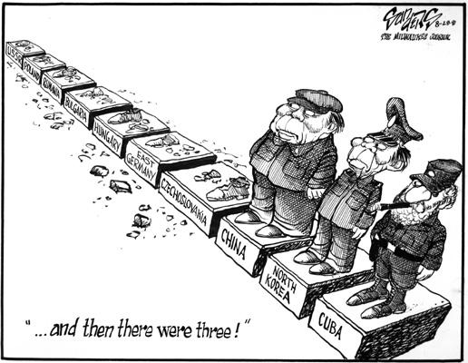 Political cartoon showing the decline of communism around the world.
