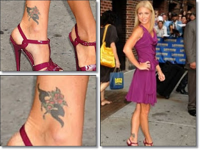 Nicole Richie Foot Tattoo: Rosary. Here is a picture of Nicole Ritche's foot