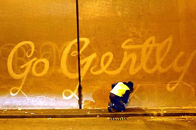 """Go Gently"" -- reverse graffiti"