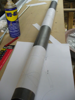 Tube laid out with cutting templates