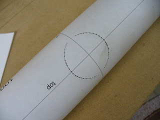 Head Tube template marked with center punch